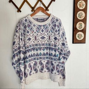 Vintage Patterned Pull Over Knit Sweater